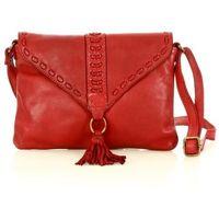 Czerwona włoska torebka clutch boho ze skóry naturalnej