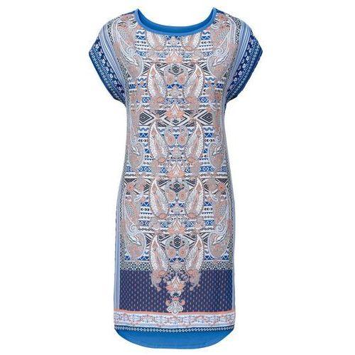 Bonprix Sukienka z nadrukiem niebieski z nadrukiem
