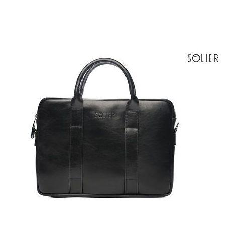 0cb94c8a68070 Skórzana męska torba na laptopa sl20 edynburg - czarny marki Solier - foto  produktu