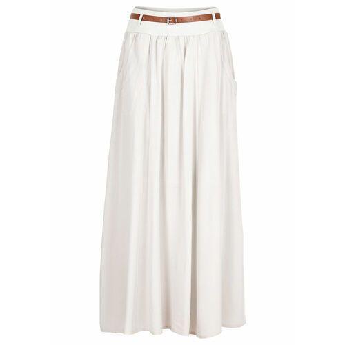 Spódnica maxi z paskiem bonprix beżowy