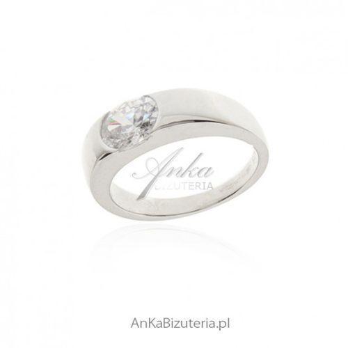 ankabizuteria.pl Piękny srebrny pierścionek z cyrkonią - biżuteria srebrna włoska, kolor szary