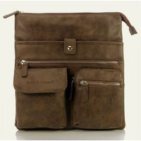 Brązowo-beżowa torebka raportówka listonoszka Vintage unisex - brązowy || beżowy Listonoszki Vintage Divino + Plecak 6601 + B-05 (-23%)