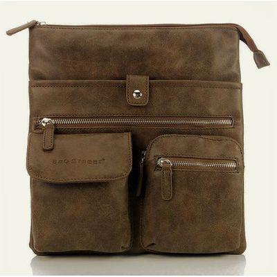 409db9f3f19b6 Brązowo-beżowa raportówka listonoszka w stylu vintage - brązowy