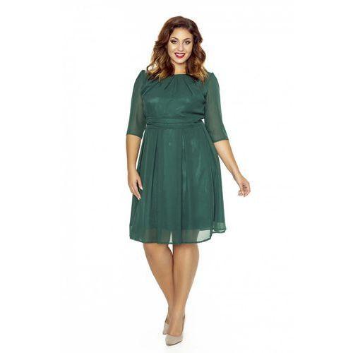 4437492740 Kartes moda Zielona wizytowa sukienka z zakładkami przy dekolcie plus size