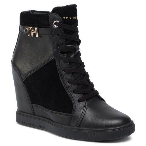 Tommy hilfiger Sneakersy - hardware sneaker wedge fw0fw04303 black 990