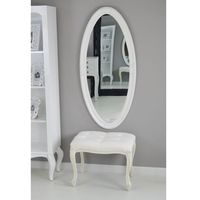 Design by impresje24 Owalne lustro, ozdobna, drewniana rama, kolor biały.