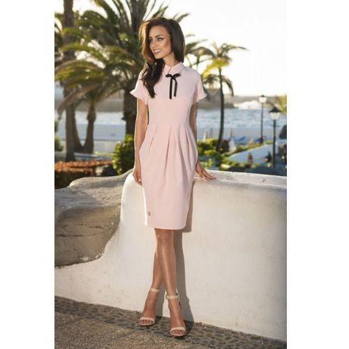 50fbb8e567 Czerwona elegancka dopasowana sukienka z ozdobnym węzłem (Lemoniade ...