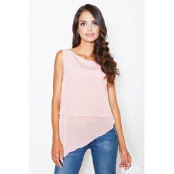Różowa urokliwa asymetryczna bluzka bez rękawów marki Figl