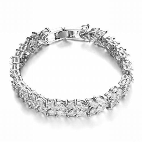 Br599/824 srebrna bransoletka ślubna, szeroka cyrkonie markizy marki Mak-biżuteria