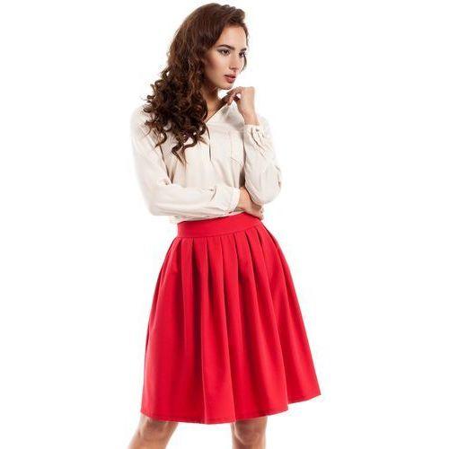Czerwona spódnica midi z plisowaniami Moe