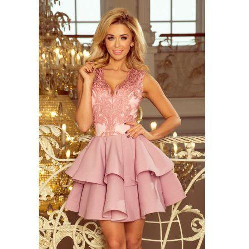 b6c7509b51 200-5 CHARLOTTE - ekskluzywna sukienka z koronkowym dekoltem - PUDROWY RÓŻ