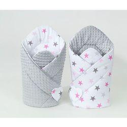 rożek niemowlęcy dwustronny minky gwiazdki szare i różowe d / jasny szary marki Mamo-tato
