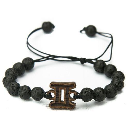 Drewniana bransoletka znak zodiaku bliźnięta merbau kamień wulkaniczny marki Bewood