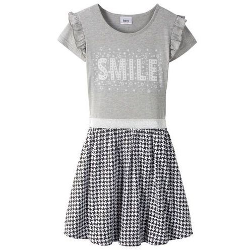 9995f6d48a Zobacz ofertę Sukienka z falbanami i cekinami bonprix jasnoszary melanż -  czarno-biały