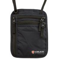 Dyskretna saszetka paszportówka na szyję z ochroną RFID (czarny) - Czarny
