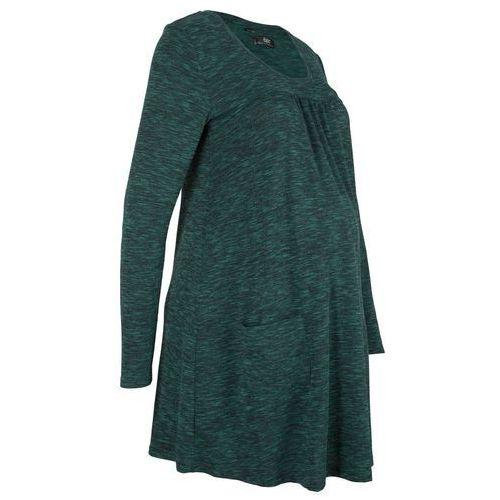 Sukienka shirtowa ciążowa w melanżowy m kolorze głęboki zielony - czarny melanż, Bonprix, 32-54