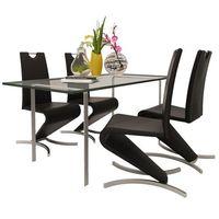 vidaXL Zestaw 4 krzeseł czarnych ze sztucznej skóry z podstawą w kształcie H