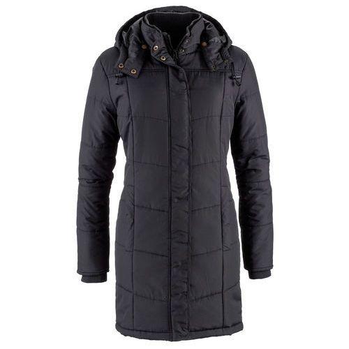 Długa kurtka pikowana, ocieplana bonprix czarny, poliester