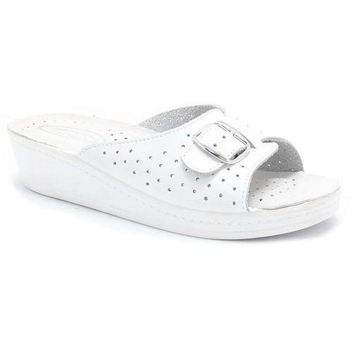 60207/30 białe - wygodne klapki, skóra marki Saniflex