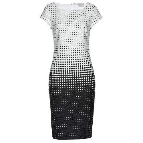 Sukienka z nadrukiem w kropki biało-czarny w kropki, Bonprix, 42-54