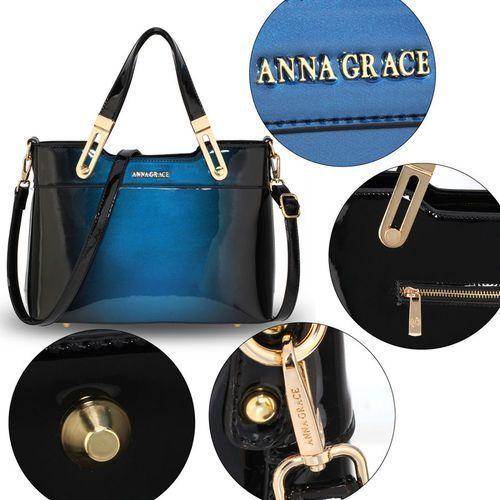 Cieniowana lakierowana torebka damska niebiesko czarna czarny ||niebieski (Wielka Brytania)
