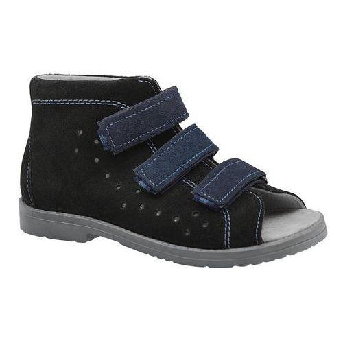 Sandałki Profilaktyczne Ortopedyczne Buty DAWID 1042 Czarne CZN - Czarny ||Granatowy, kolor czarny