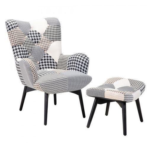 Fotel czarno-biały + pufa - fotel tapicerowany - krzesło - Petrosso