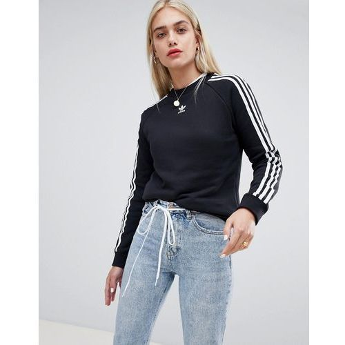 adidas Originals Three Stripe Sweatshirt In Black - Black, kolor czarny