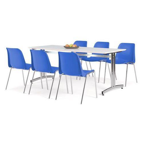 Aj produkty Zestaw mebli, stół 1800x700 mm, biały + 6 krzeseł niebieski/chrom