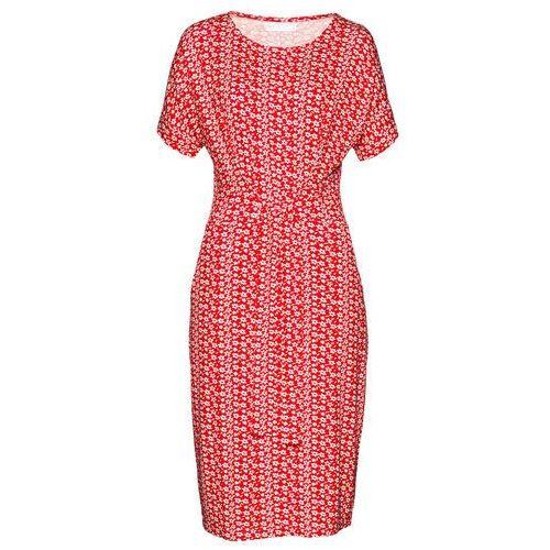 Sukienka bonprix czerwono-biały w kwiaty, kolor czerwony