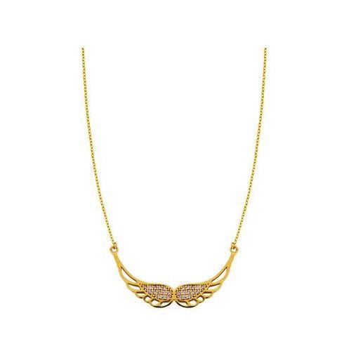 99df5d4d42a3a1 Naszyjnik złoty skrzydła anioła z cyrkoniami - 2,55 g - foto Naszyjnik złoty  skrzydła