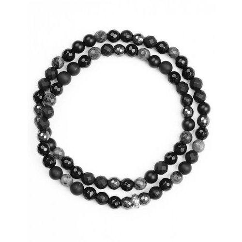 Bransoletka Wrap agat czarny, onyks czarny, labradoryt szary oraz hematyt grafitowy 6 mm S, kolor czarny