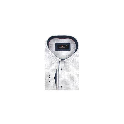 ab13a0a020ceb5 Duża koszula męska biała w kropki na długi rękaw duże rozmiary a007 marki  Triwenti - Fotografia