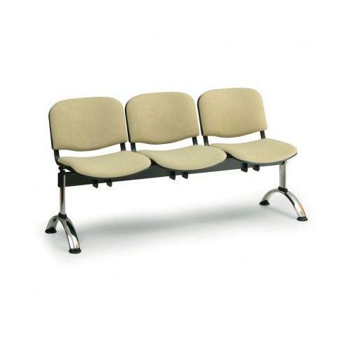Ławka do poczekalni tapicerowana VIVA, 3-siedziska, pomarańczowy, chromowane nogi