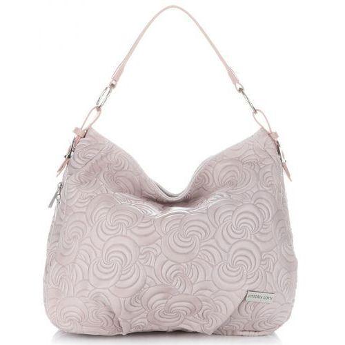 ed44a5be19ca47 ekskluzywne torebki skórzane z modnymi tłoczeniami pudrowy róż (kolory)  marki Vittoria gotti