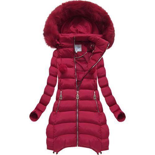 f0b3b1bc47919 Pikowana kurtka z kapturem bordowa (w579big) - czerwony, Speed.a, 44