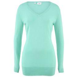 Długi sweter jasny miętowy, Bonprix, 36-50