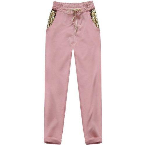 Bawełniane spodnie z cekinami pudrowy róż (3638) - różowy marki Made in italy