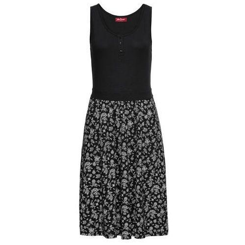 Bonprix Sukienka shirtowa z nadrukiem czarny