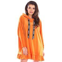 Przedłużona bluza welurowa z falbanką - pomarańczowa