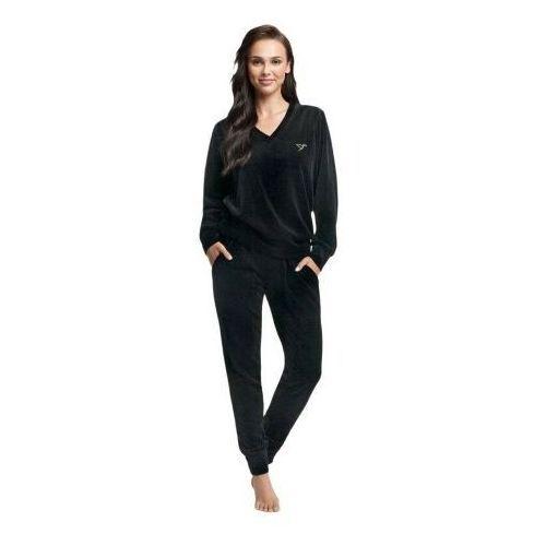 Welurowy dres damski komplet 306 czarny marki Luna