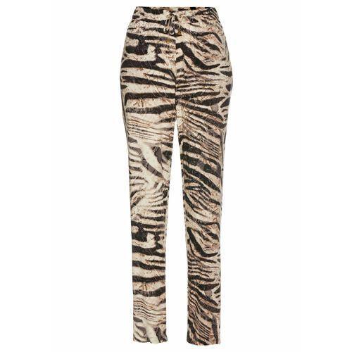 Spodnie ze stretchem i nadrukiem bonprix biel wełny z nadrukiem