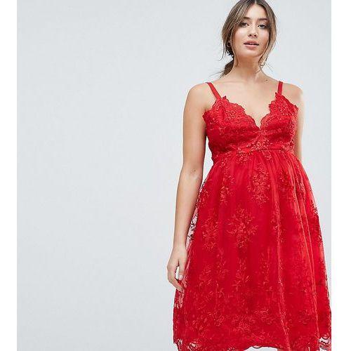 premium scalloped lace midi dress - red, Chi chi london maternity