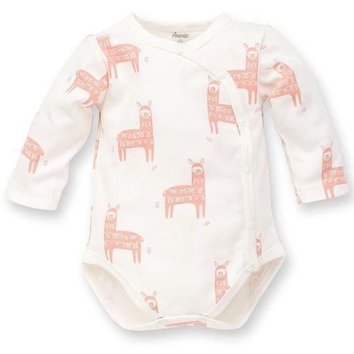 body rozpinane długi rękaw happy llama ecru 56-74 marki Pinokio