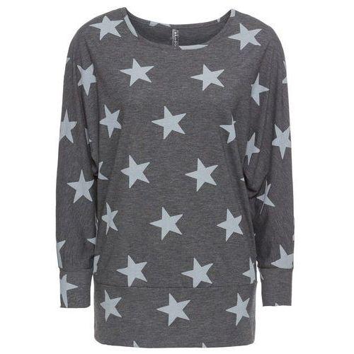 Bonprix Shirt dzianinowy w gwiazdy antracytowo-jasnoszary melanż
