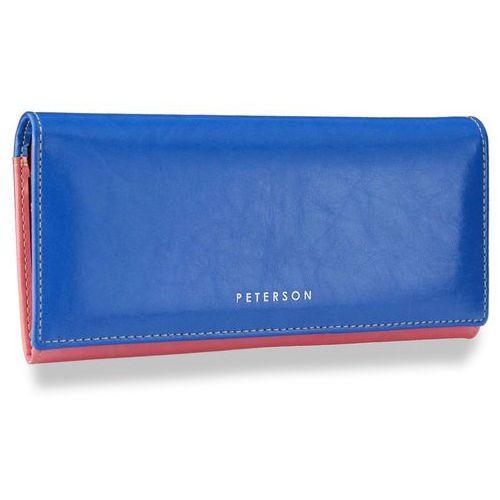8bda6188f8f349 portfel damski skórzany skóra naturalna niebiesko-różowy pl435 - niebieski  + różowy marki Peterson
