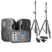 Vexus PSS302 mobilny system PA audio maks. moc 300W Bluetooth USB SD MP3 2 x statyw