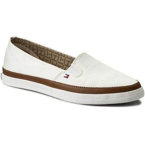 Tommy hilfiger Tenisówki - iconic kesha slip on fw0fw01656 whisper white 121