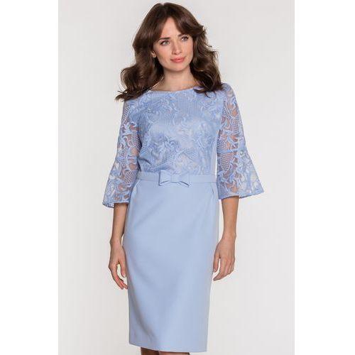 821df4899 Studio mody francoise Błękitna sukienka z koronką - - Galeria Studio mody  francoise Błękitna sukienka z