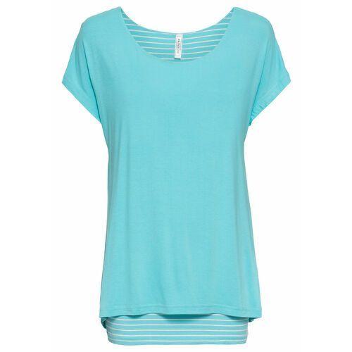 Długi shirt 2 w 1 bonprix morsko-biały, kolor niebieski